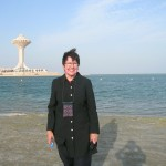 Cathie on Al Khobar Corniche. Arabian Gulf. 26 March 2011