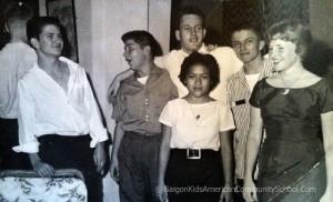 Saigon Kids Circa 1960/61. Left to Right: Frank Stoddard, Peter Shahpazian, Bob Layson, Kurtz (KJ) Miller, Dini Haznam, Janet Bogardus. Frank Stoddard Collection.