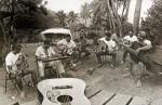 Pahinui ohana (family) and friends jamming Waimanlo. Circa 1973. Bob Layson Collection. - Click Image to Enlarge.