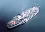 The U.S. Navy hospital ship USS Haven (AH-12) anchored in Inchon harbor, Korea, 14 June 1953.