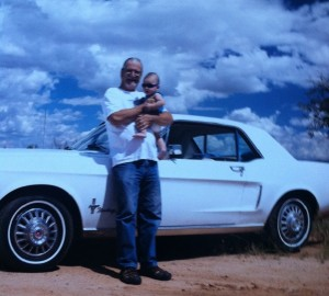 Kazi and his Grandpa with Kazi's first car. Circa 2014. Frank Stoddard Collection.
