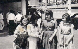Kate Greene Leaving Vietnam. Left to right: Kate Greene, Vietnamese girlfriend of Kathy's brother, Kathy Begley, and Annette Lanouette. Kate Greene collection. Circa 1964.